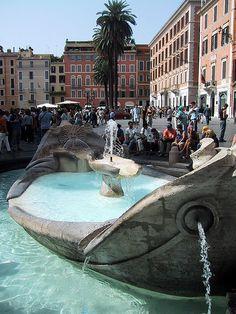 Fontana Della Barcaccia at the Spanish Steps in Rome, Italy