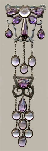 Corsage Ornament with brooch fitting, amethysts, silver. European, ca.1880