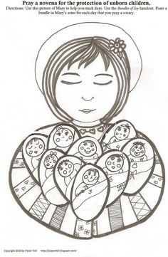 """Prolife Catholic Novena for the Unborn Coloring / Activity Sheet!  Each """"bundle of joy"""" represents a day completed of the Novena prayer.  This coloring sheet & novena prayer activity would be great for our pro-life group!"""