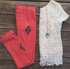 boho chic. colored skinnies and lace top