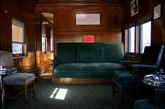 The lounge in the Presidential Pullman rail car...when the President traveled long distance this was the only way to go!