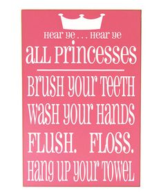 Another great find on #zulily! Pink & White Princess Bathroom Rules Wall Art #zulilyfinds