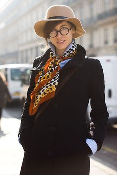 glass, tomboy style, silk scarves, hat