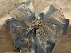 Lt  Blue Satin and Silver Snowflake Decorative by creativelycarole, $12.00