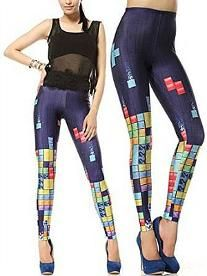 80s Computer Game - Tetris Blocks Footless Leggings