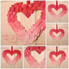Valentine Heart Wreath Ombre Style from paint chip samples at AliLilyBlog.com valentin wreath, diy paint chip, paint chip samples, paint samples diy, diy project, valentin project, paint sample crafts, paint sample diy, valentine wreath