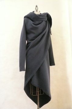 MARIA SEVERYNA Slate Gray Cashmere Wool Coat Asymmetric Wrap Duster
