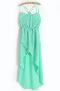 Green Spaghetti Strap Split Bandeau Chiffon Dress - just beautiful!