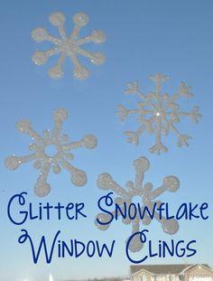 DIY Glitter Snowflake Window Clings