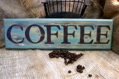 Hand Painted Prim Coffee sign #coffee #decor #primitive