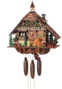 German Original Black Forest Cuckoo Clocks - Chalet Cuckoo Clock, Deer, Bear and Hunter, Model