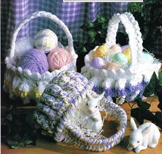 Pattern to Make EASTER BASKETS IN 2 SIZES ~~ Crochet PATTERN