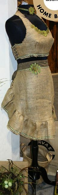 burlap apron.......vintaged up.....perfect display for fall.....love the pearls of course