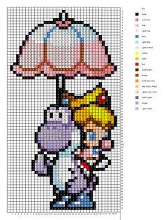 Baby Peach and Yoshi cross stitch pattern