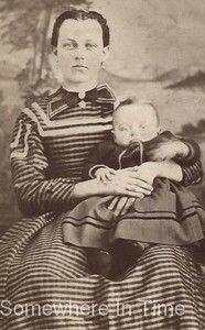 1860s Beautiful Woman Dress Baby Rose Baker Beardsley Defiance Ohio CDV Photo