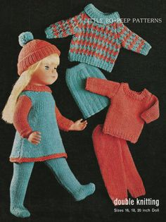 Knitting pattern for dolls doll clothes to fit 16-18-20 inch doll vintage knitting pattern -  PDF knitting pattern