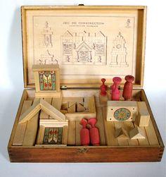 Vintage Wooden Construction Game -
