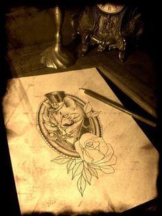 Victorian Cat Tattoo