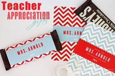 Free Teacher Appreciation Day candy bar wrapper printables via blog.thecelebrationshoppe.com ~ THANK YOU {teacher's name} FOR RAISING THE BAR ~ Personalize in the file before printing and enjoy!