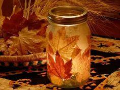 Fall craft.  Luminaries. Solar Lights.  Mod POdge, Leaves. Mason Jars.