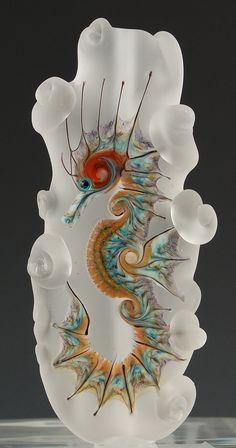 Kimberly Affleck Seahorse Glass Sculpture