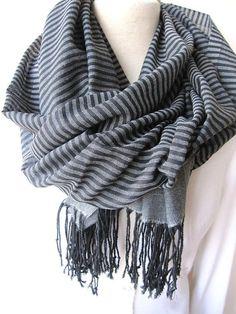 Turkey Turkish Scarf - Gray Grey Black stripe long cotton fabric Men's scarves- New Spring FASHION Scarf unisex gifts