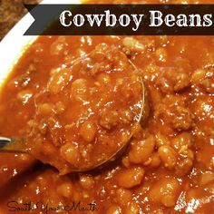 This recipe for Rugged Cowboy Beans is a hearty cowboy beans recipe with hamburger and onion.