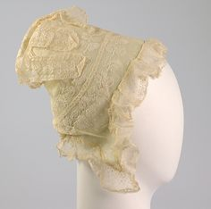 Cap, ca. 1810, American, Cotton. Brooklyn Museum Costume Collection at The Metropolitan Museum of Art.
