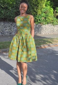 African print 50's style belted dress. 10% off - enter HOAK3.