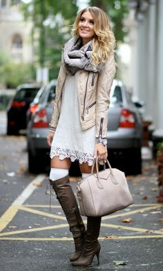 Perfect fall street style with jacket, long boots and scarf