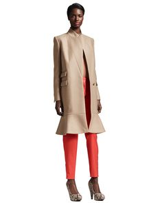 THE AUTUMNALS - Stella McCartney mixes earth tones with bold orange with this flounce-hem coat, crepe de chine mix.
