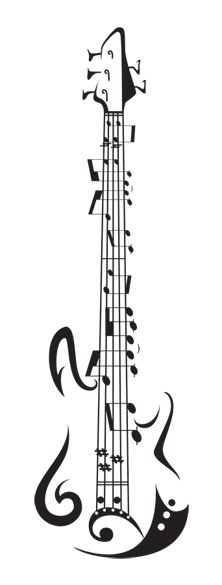 I would love to have a large print of this!!    Bombtrack music 5 string bass tattoo flash by ~KatVanGent