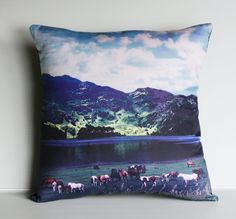 decorative cushion VALLEY SCENE  organic cotton by mybeardedpigeon, $49.00