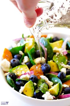 Brain Power Salad (Spinach Salad with Salmon, Avocado and Blueberries) with Honey Chia Seed Vinaigrette Recipe
