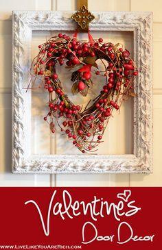 Valentine's Door Decor. This is very easy to make. holiday, seasonal wreaths, valentine day crafts, valentin door, a frame, door decor, picture frames, valentine wreath, heart wreath