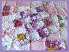 ~Purple~ Vintage Chenille Patchwork Rag Quilt