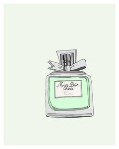 perfum illustr, pale pink, dior cheri, poster, perfume, dior perfum, bottle art, print, fashion illustrations