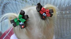 TWO Reindreer hair clips by CrystalNMeDesigns on Etsy, $6.49 hairbow, craft, headband, hair clips, hair accessori, reindeer hair, hair bow