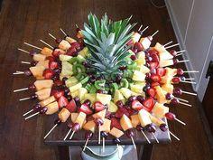 Fruit skewers display