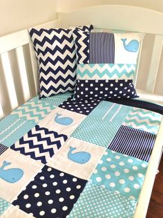WHALE Baby Quilt Set, Baby Boy Crib Quilt and two cushion covers, this is so cute! even in girl colors!