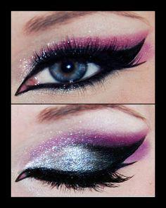 eye makeup, eyeshadow, cat eyes, blue, color, makeup ideas, beauti, winged eyeliner, halloween