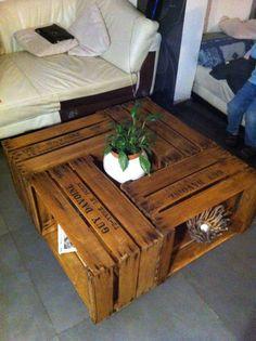 Diy mon appart on pinterest pallet sofa pallet coffee - Table basse caisse pomme ...