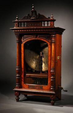 Victorian Symphonion upright disk music box