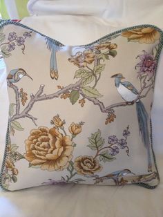 Pillow cover decorative floral bird fabric 20x20 on Etsy, $35.00