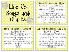 Line Up Songs and Chants