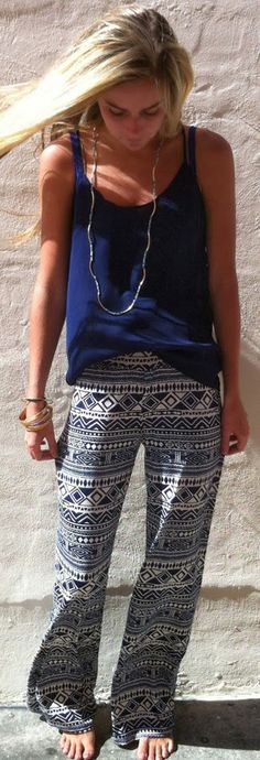 Summer...Cute style in tribal trouser and blue tank. love love LOVE
