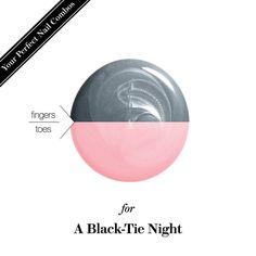 Mani-pedi nail-polish combo for a black-tie event