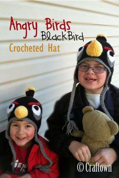 Free Crochet Pattern - Angry Birds Hat - Black Bird