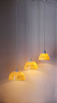 Shenandoah Yellow - Buttercream and Floral Filigree Pattern PYREX Hanging Pendant Lights - OOAK UpCycled BootsNGus Lighting Fixtures. $220.00, via Etsy.