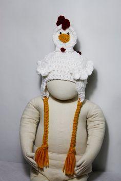 chicken crochet hat for newborn to 3 months